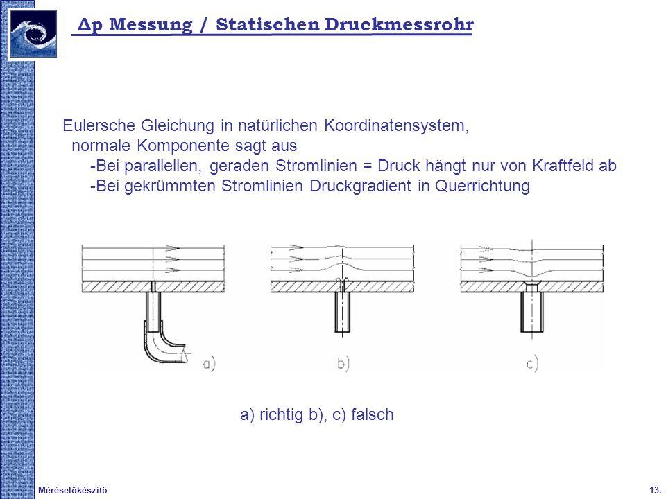 13.Méréselőkészítő Δp Messung / Statischen Druckmessrohr Eulersche Gleichung in natürlichen Koordinatensystem, normale Komponente sagt aus -Bei parall