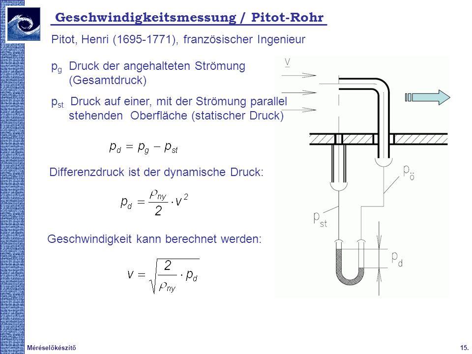15.Méréselőkészítő 2009. tavasz Geschwindigkeitsmessung / Pitot-Rohr Pitot, Henri (1695-1771), französischer Ingenieur Differenzdruck ist der dynamisc