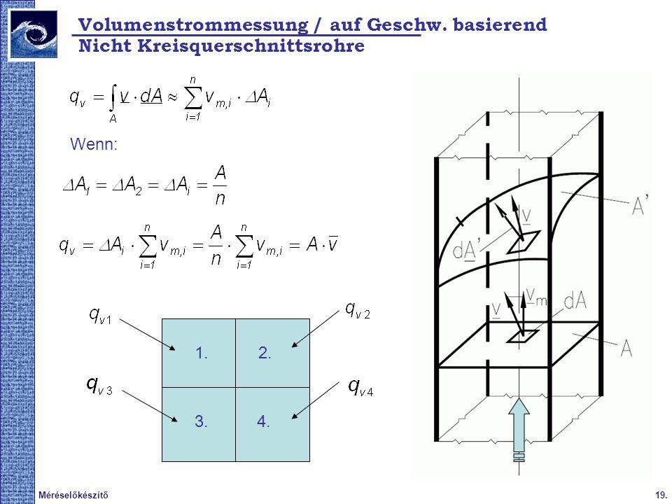 19.Méréselőkészítő Volumenstrommessung / auf Geschw. basierend Nicht Kreisquerschnittsrohre Wenn: 1.2. 3.4.