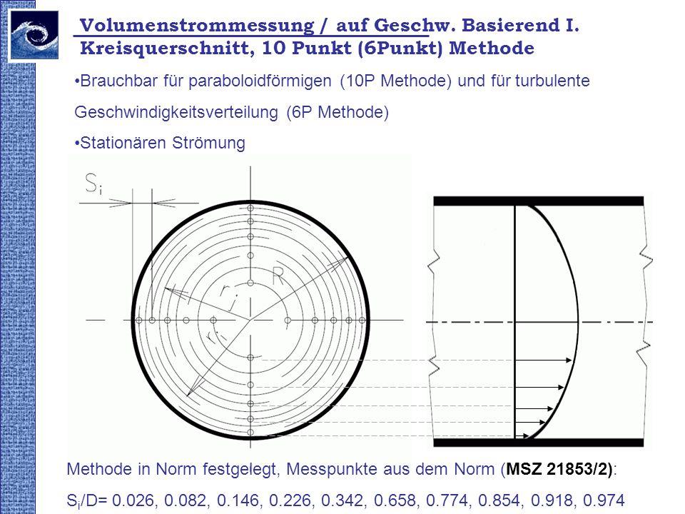 Brauchbar für paraboloidförmigen (10P Methode) und für turbulente Geschwindigkeitsverteilung (6P Methode) Stationären Strömung Kreisquerschnitt, 10 Punkt (6Punkt) Methode Methode in Norm festgelegt, Messpunkte aus dem Norm (MSZ 21853/2): S i /D= 0.026, 0.082, 0.146, 0.226, 0.342, 0.658, 0.774, 0.854, 0.918, 0.974 Volumenstrommessung / auf Geschw.
