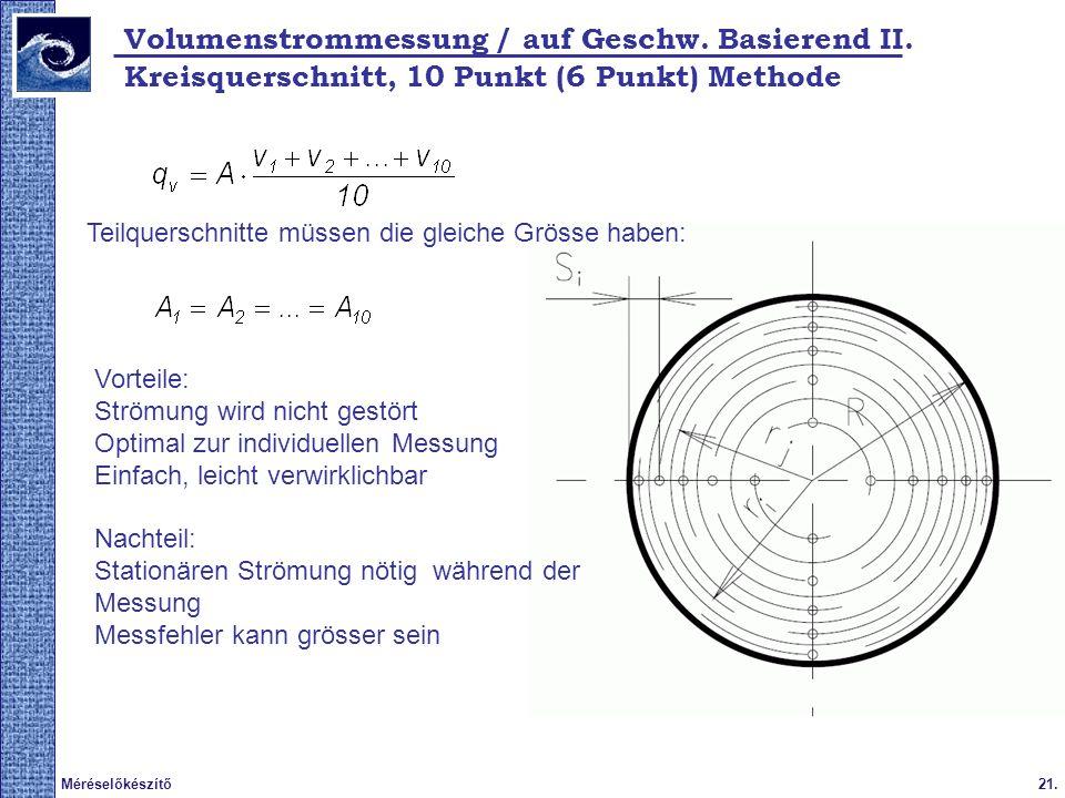 21.Méréselőkészítő Vorteile: Strömung wird nicht gestört Optimal zur individuellen Messung Einfach, leicht verwirklichbar Nachteil: Stationären Strömung nötig während der Messung Messfehler kann grösser sein Kreisquerschnitt, 10 Punkt (6 Punkt) Methode Teilquerschnitte müssen die gleiche Grösse haben: Volumenstrommessung / auf Geschw.