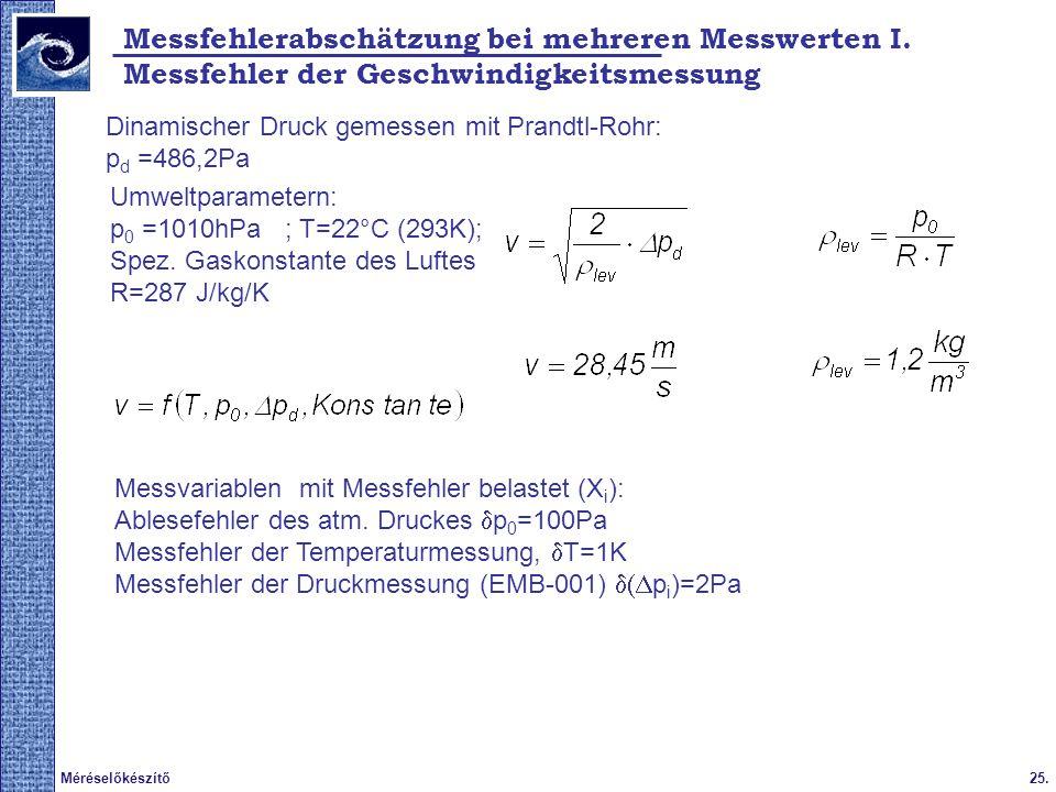 25.Méréselőkészítő Messfehlerabschätzung bei mehreren Messwerten I. Messfehler der Geschwindigkeitsmessung Dinamischer Druck gemessen mit Prandtl-Rohr