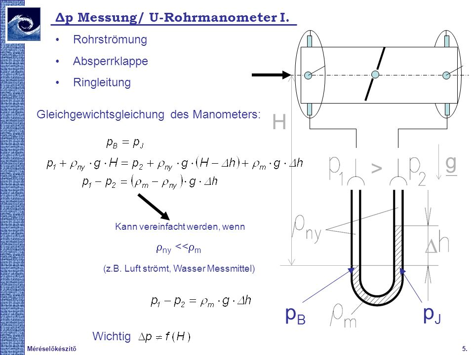 6.Méréselőkészítő Δp Messung/ U-Rohrmanometer II.