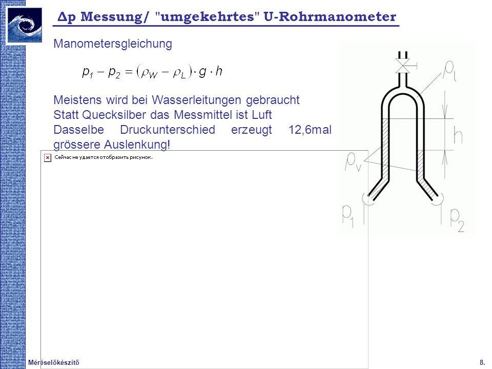8.Méréselőkészítő 2009. tavasz Δp Messung/