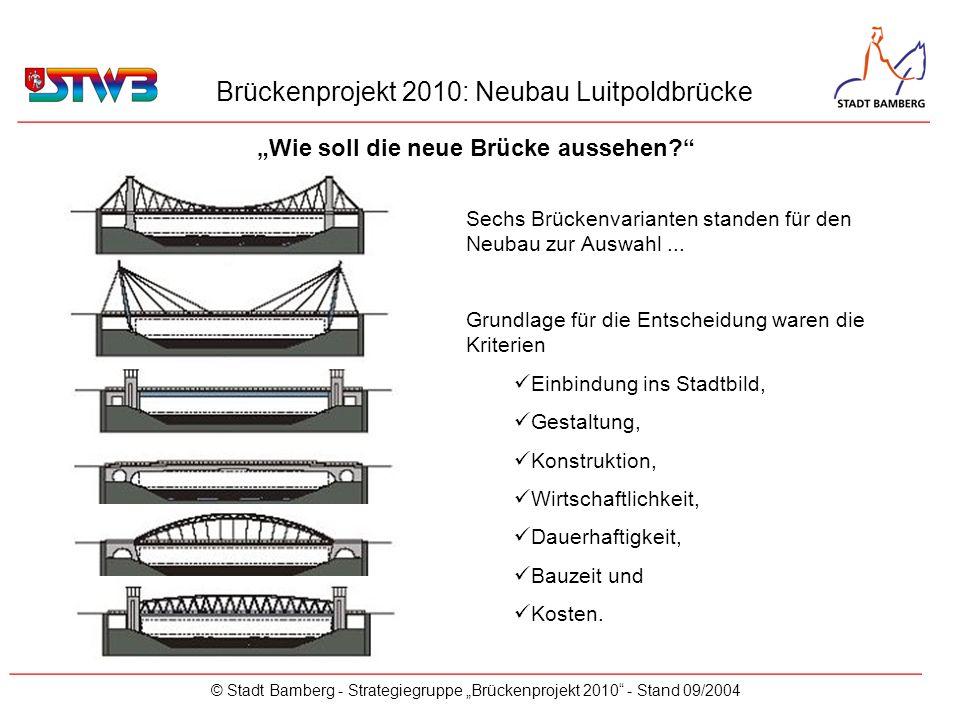 Brückenprojekt 2010: Neubau Luitpoldbrücke © Stadt Bamberg - Strategiegruppe Brückenprojekt 2010 - Stand 09/2004 Wie soll die neue Brücke aussehen? __