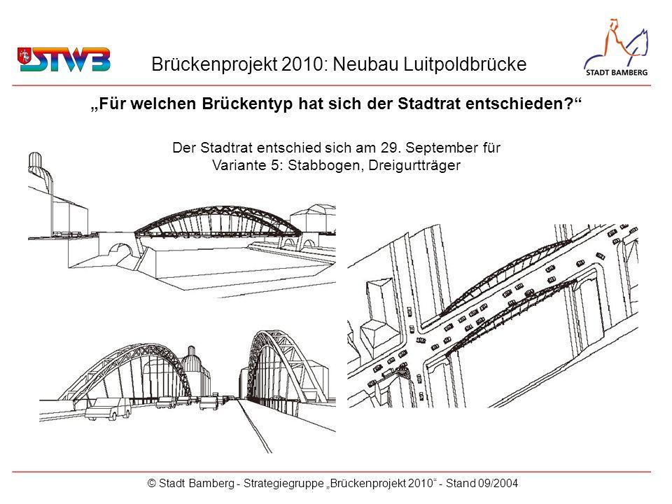 Brückenprojekt 2010: Neubau Luitpoldbrücke © Stadt Bamberg - Strategiegruppe Brückenprojekt 2010 - Stand 09/2004 Für welchen Brückentyp hat sich der S