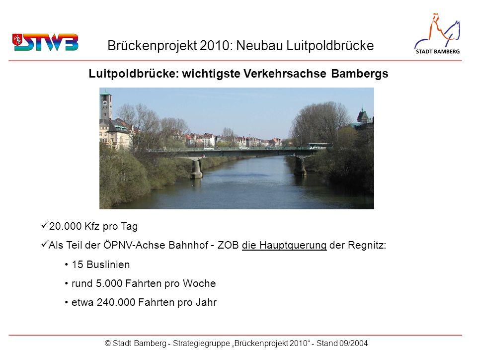 Brückenprojekt 2010: Neubau Luitpoldbrücke © Stadt Bamberg - Strategiegruppe Brückenprojekt 2010 - Stand 09/2004 20.000 Kfz pro Tag Als Teil der ÖPNV-