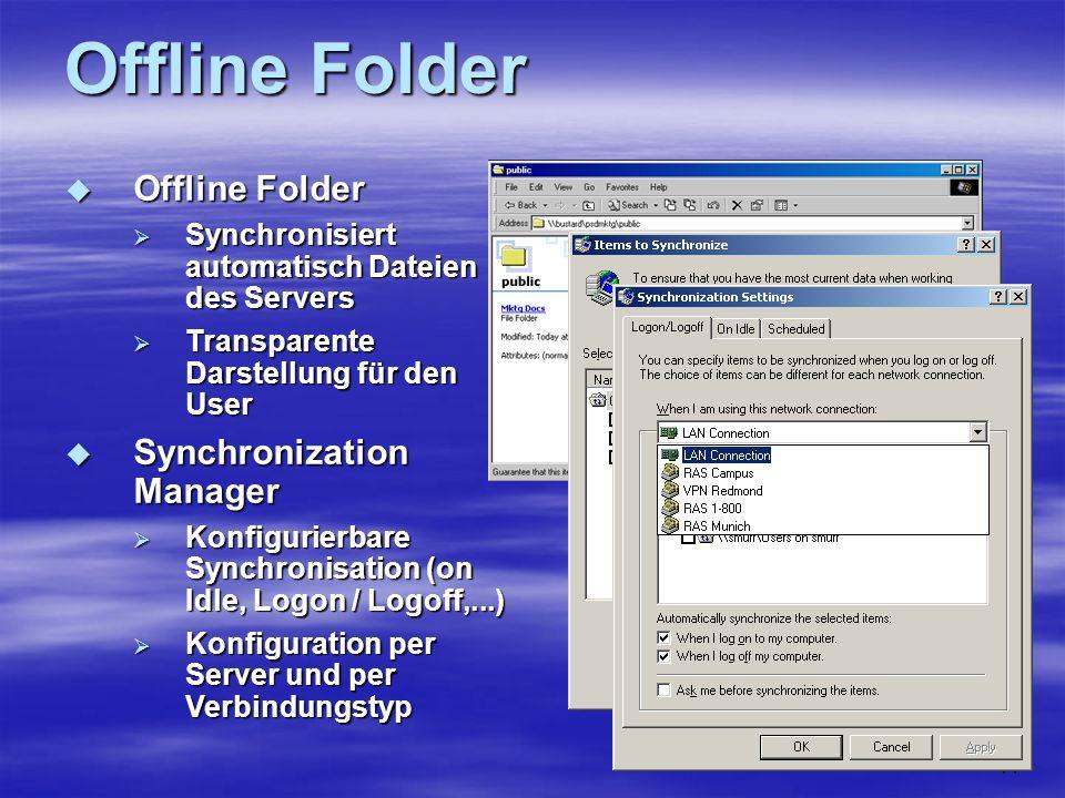 11 Offline Folder Offline Folder Offline Folder Synchronisiert automatisch Dateien des Servers Synchronisiert automatisch Dateien des Servers Transparente Darstellung für den User Transparente Darstellung für den User Synchronization Manager Synchronization Manager Konfigurierbare Synchronisation (on Idle, Logon / Logoff,...) Konfigurierbare Synchronisation (on Idle, Logon / Logoff,...) Konfiguration per Server und per Verbindungstyp Konfiguration per Server und per Verbindungstyp
