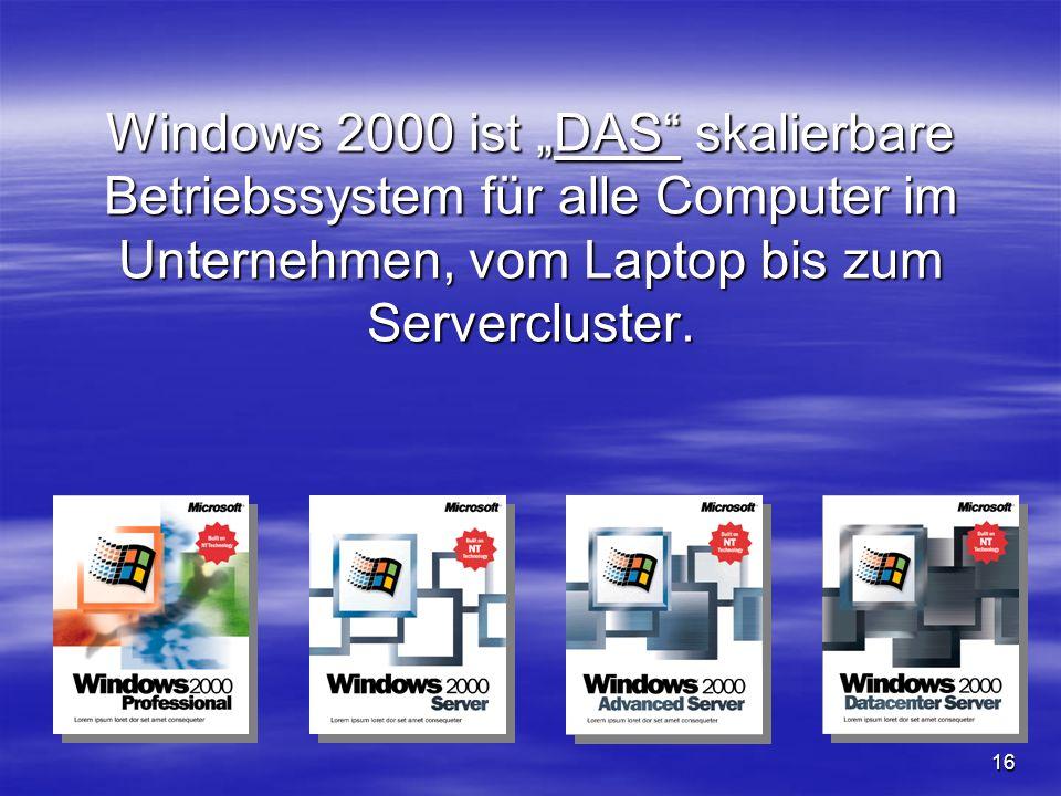 16 Windows 2000 ist DAS skalierbare Betriebssystem für alle Computer im Unternehmen, vom Laptop bis zum Servercluster.