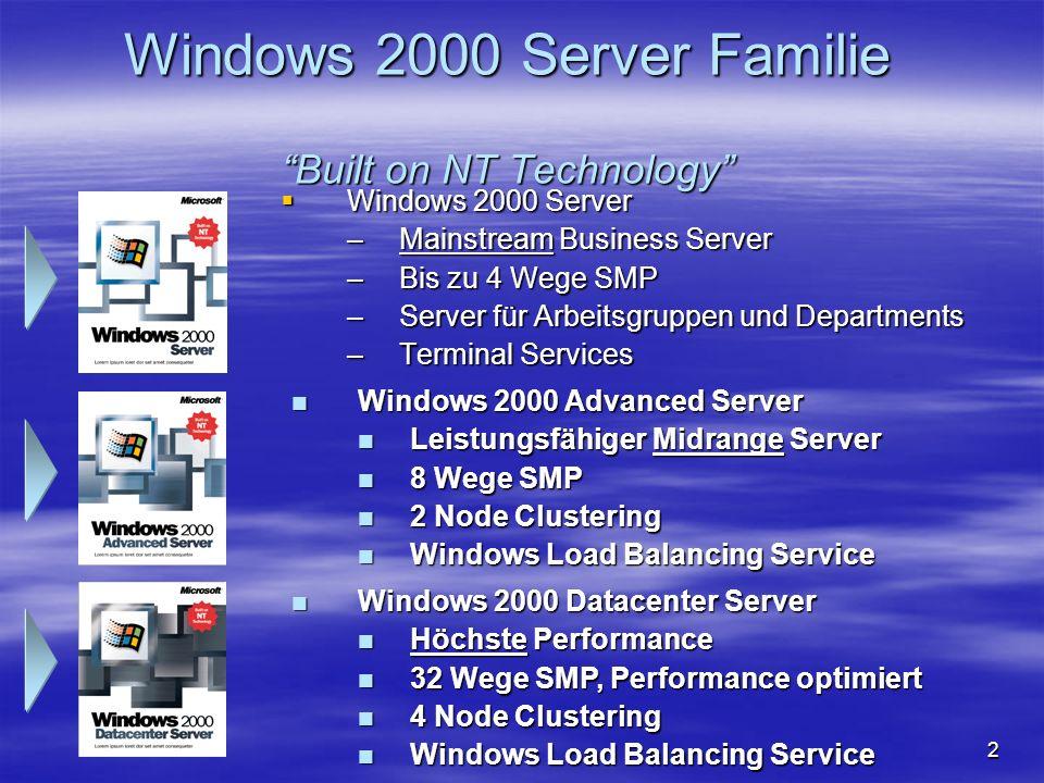 3 Agenda Windows 2000 Server Features, u.a.: Windows 2000 Server Features, u.a.: –Active Directory –Richtlinien basiertes Management –Sicherheit –Systemverfügbarkeit –Storagemanagement –Migration von Windows NT auf Windows 2000