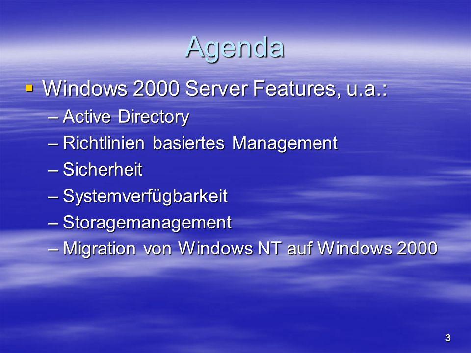 14 Workstations ausrollen Sysprep Sysprep –Ein Rechner wird als Template mit allen Applikationen installiert –Disk wird geclont Remote OS Installation Remote OS Installation –Neuer Rechner ohne OS bootet von Netzwerkkarte oder spezieller Floppy –OS wird vom Server geladen und lokal installiert