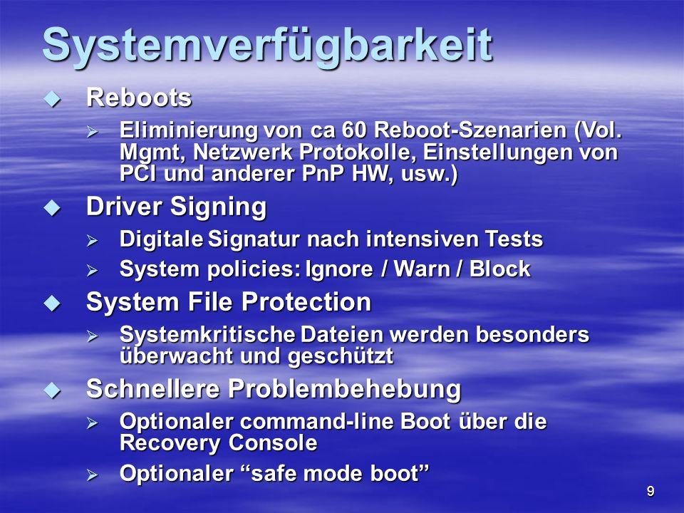 10 Storage und Storage Management FAT32 (Windows 95/ 98/ OSR) FAT32 (Windows 95/ 98/ OSR) NTFS v5 NTFS v5 Datenverschlüsselung Datenverschlüsselung Direkte Inhaltsindizierung Direkte Inhaltsindizierung Disk Quotierung (Platzlimitierung) Disk Quotierung (Platzlimitierung) Disk Defrag Disk Defrag DVD-ROM Unterstützung DVD-ROM Unterstützung Hierarchisches Speichermanagement Hierarchisches Speichermanagement