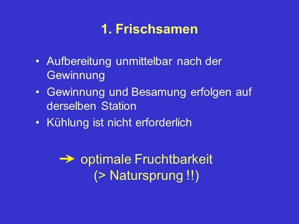 1. Frischsamen Aufbereitung unmittelbar nach der Gewinnung Gewinnung und Besamung erfolgen auf derselben Station Kühlung ist nicht erforderlich optima