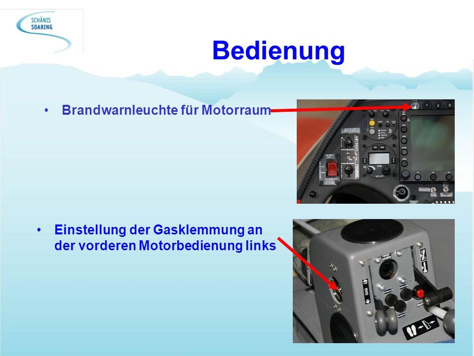 Bedienung Einstellung der Gasklemmung an der vorderen Motorbedienung links Brandwarnleuchte für Motorraum