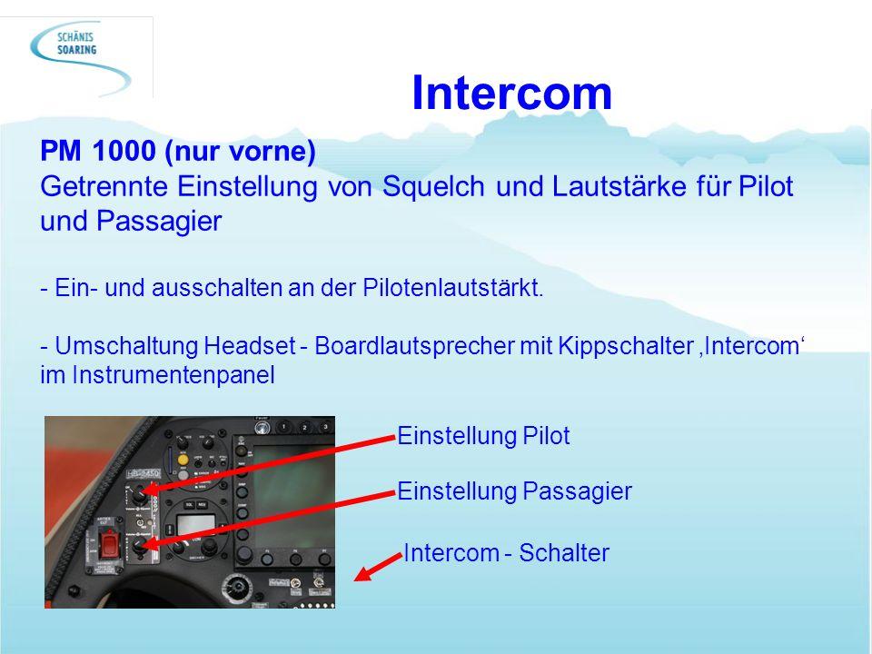 Intercom PM 1000 (nur vorne) Getrennte Einstellung von Squelch und Lautstärke für Pilot und Passagier - Ein- und ausschalten an der Pilotenlautstärkt.