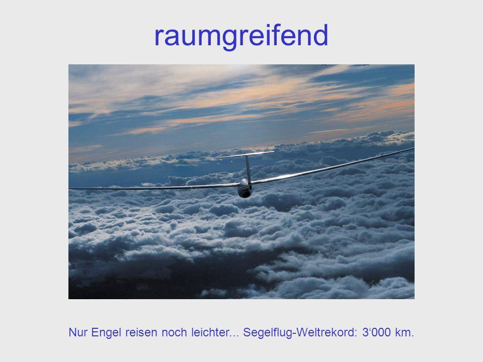 raumgreifend Nur Engel reisen noch leichter... Segelflug-Weltrekord: 3000 km.