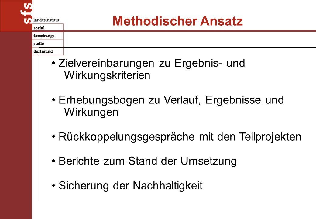 Methodischer Ansatz Zielvereinbarungen zu Ergebnis- und Wirkungskriterien Erhebungsbogen zu Verlauf, Ergebnisse und Wirkungen Rückkoppelungsgespräche mit den Teilprojekten Berichte zum Stand der Umsetzung Sicherung der Nachhaltigkeit