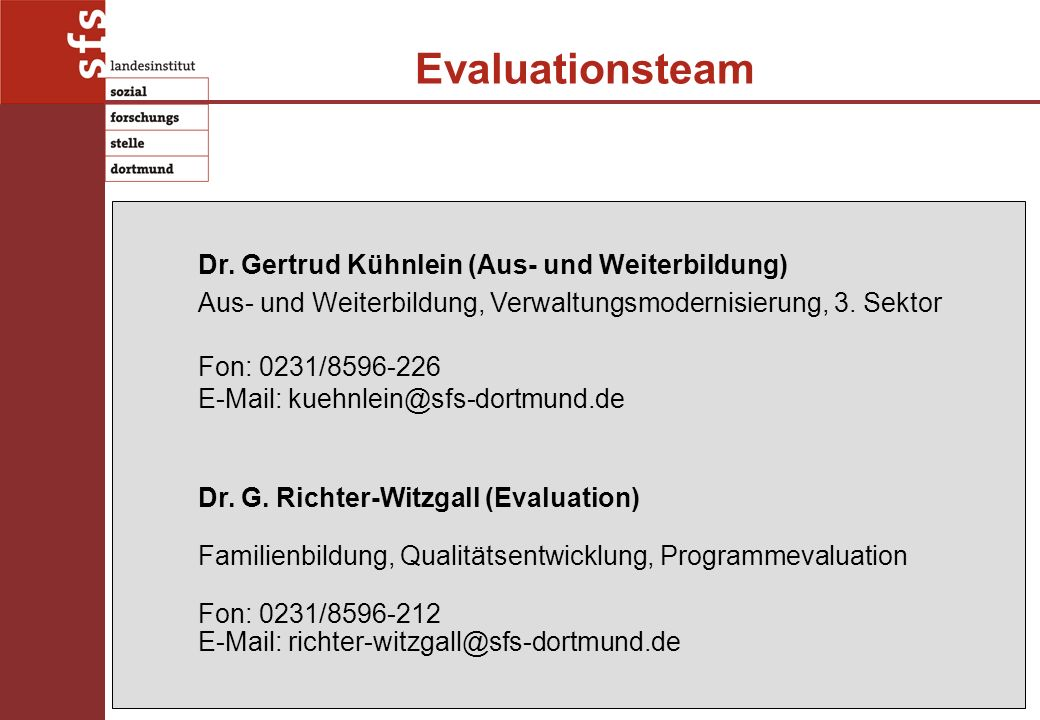 Evaluationsteam Dr.