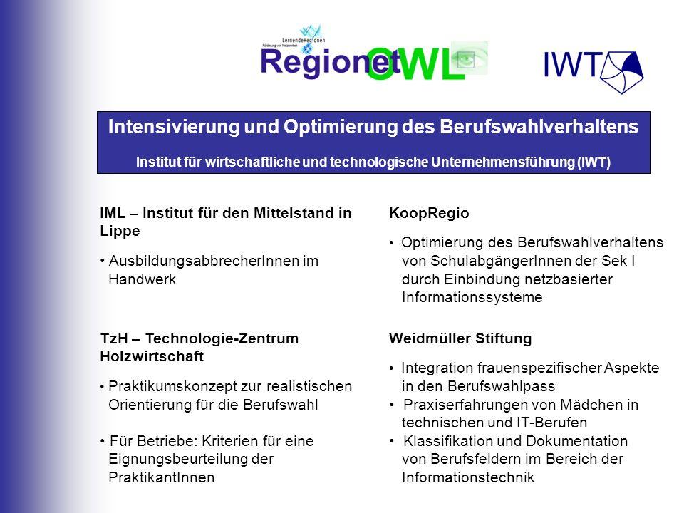 Intensivierung und Optimierung des Berufswahlverhaltens Institut für wirtschaftliche und technologische Unternehmensführung (IWT) TzH – Technologie-Ze