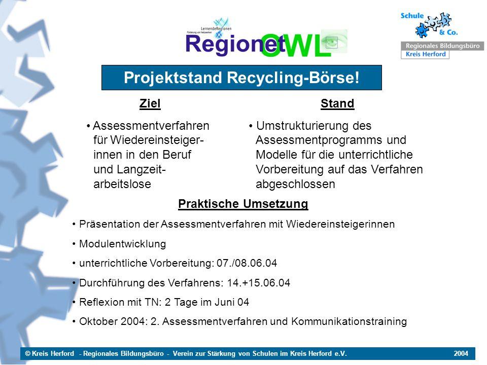 © Kreis Herford - Regionales Bildungsbüro - Verein zur Stärkung von Schulen im Kreis Herford e.V. 2004 Projektstand Recycling-Börse! Ziel Assessmentve
