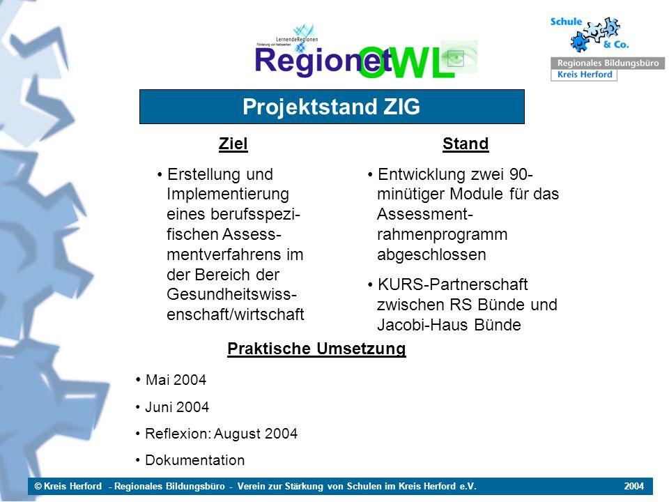 © Kreis Herford - Regionales Bildungsbüro - Verein zur Stärkung von Schulen im Kreis Herford e.V. 2004 Projektstand ZIG Ziel Erstellung und ffImplemen