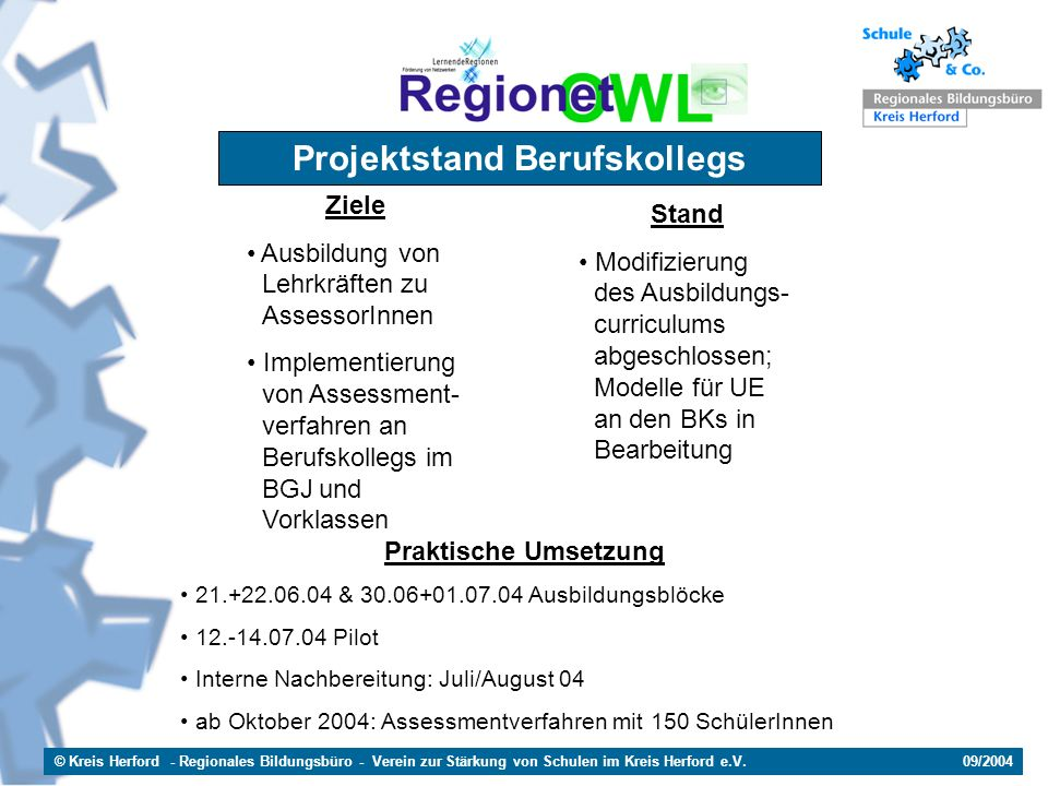 © Kreis Herford - Regionales Bildungsbüro - Verein zur Stärkung von Schulen im Kreis Herford e.V. 09/2004 Projektstand Berufskollegs Ziele Ausbildung