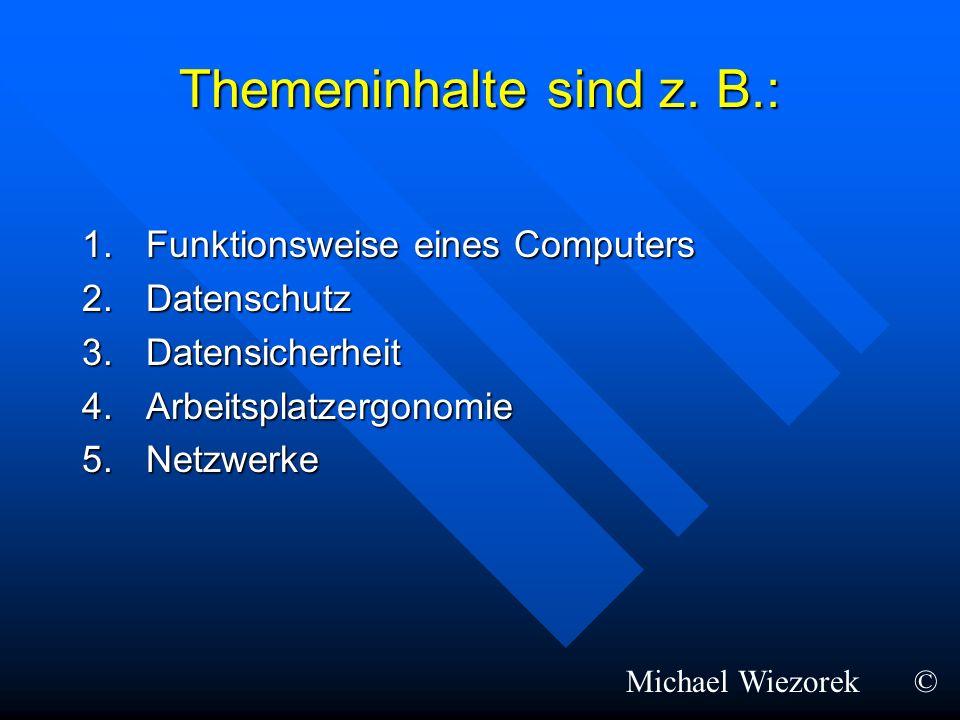 Themeninhalte sind z. B.: 1.Funktionsweise eines Computers 2.Datenschutz 3.Datensicherheit 4.Arbeitsplatzergonomie 5.Netzwerke Michael Wiezorek©