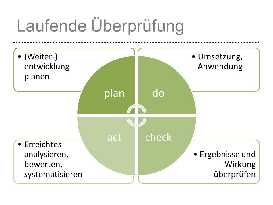 Laufende Überprüfung Ergebnisse und Wirkung überprüfen Erreichtes analysieren, bewerten, systematisieren Umsetzung, Anwendung (Weiter-) entwicklung pl