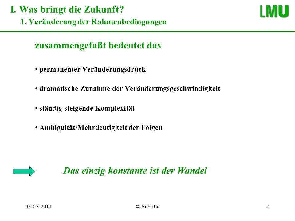 05.03.2011© Schütte15 –wir leisten uns damit ein großes, nicht ausgenutztes Qualitätspotential Beispiel Universitäten IV.