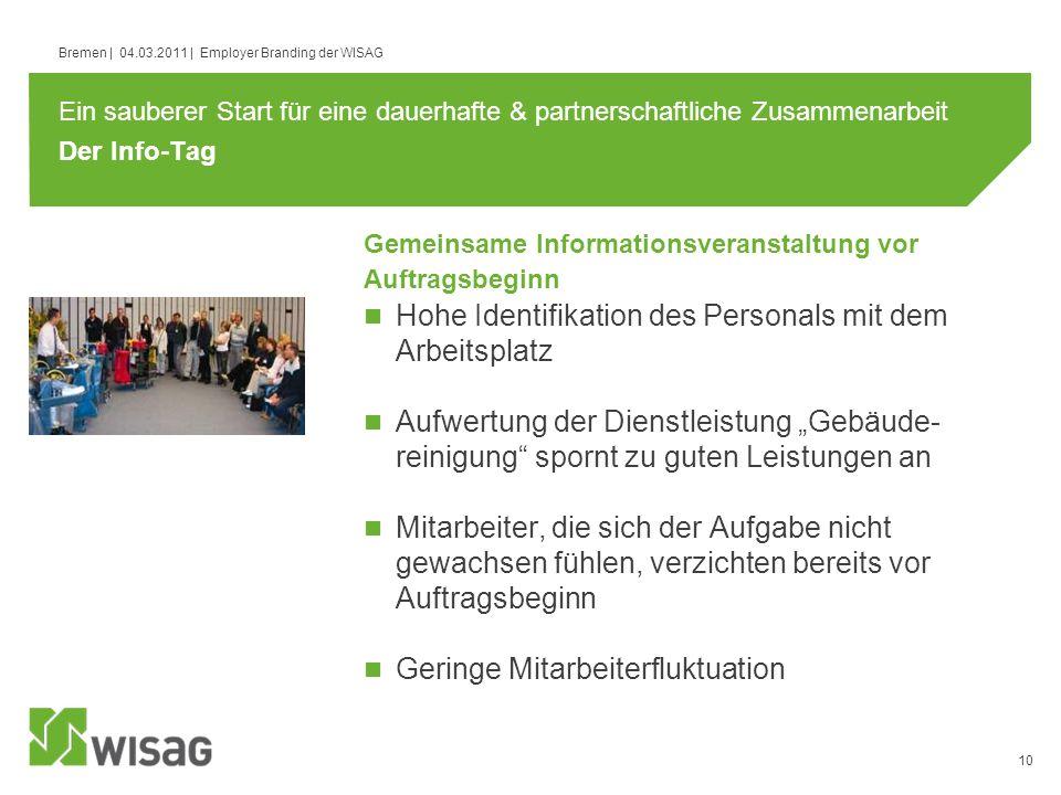 10 Bremen | 04.03.2011 | Employer Branding der WISAG Der Info-Tag Hohe Identifikation des Personals mit dem Arbeitsplatz Aufwertung der Dienstleistung