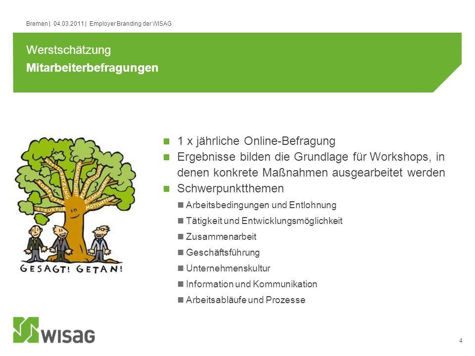 4 Bremen | 04.03.2011 | Employer Branding der WISAG Mitarbeiterbefragungen 1 x jährliche Online-Befragung Ergebnisse bilden die Grundlage für Workshop