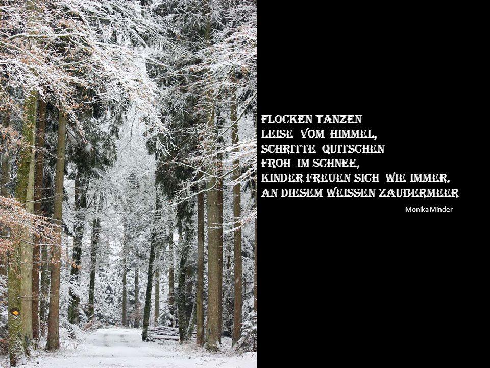 Frischer Schnee Bedeckt die felder, Nur noch stille weit und breit, Und im augenblick Spüre ich die ewigkeit.