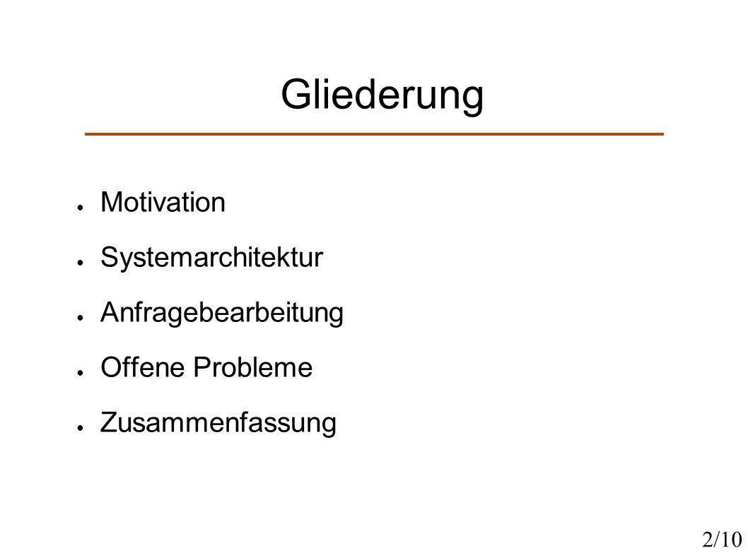 Gliederung Motivation Systemarchitektur Anfragebearbeitung Offene Probleme Zusammenfassung 2/10