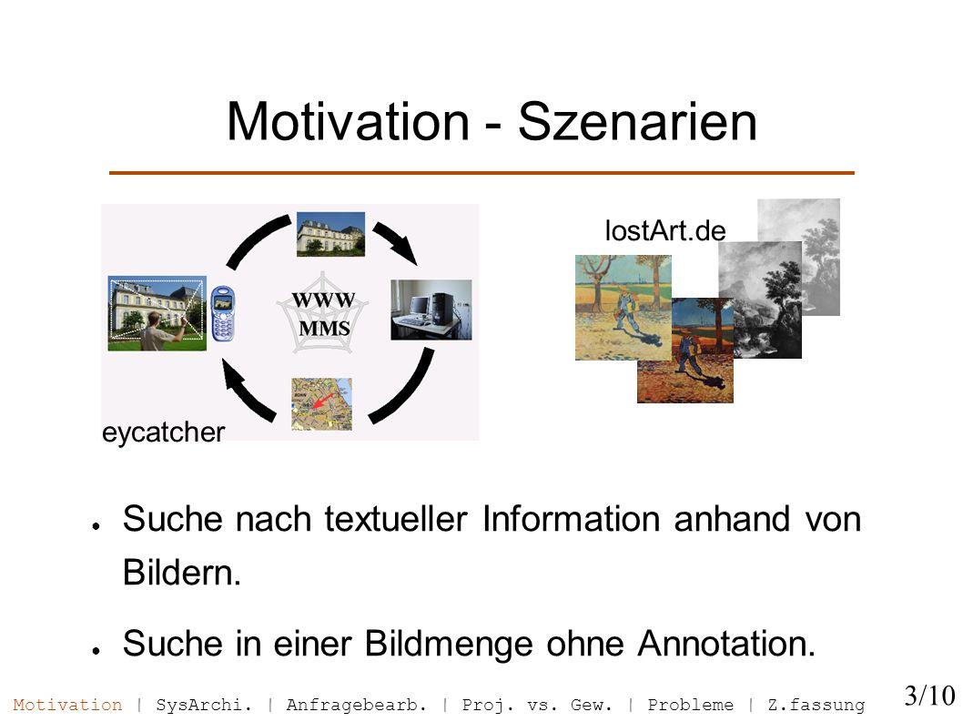 Motivation - Szenarien Suche nach textueller Information anhand von Bildern.