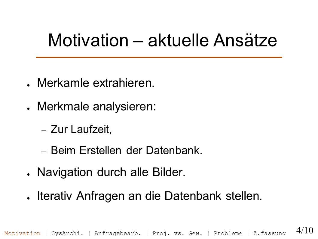 Motivation – aktuelle Ansätze Merkamle extrahieren. Merkmale analysieren: – Zur Laufzeit, – Beim Erstellen der Datenbank. Navigation durch alle Bilder