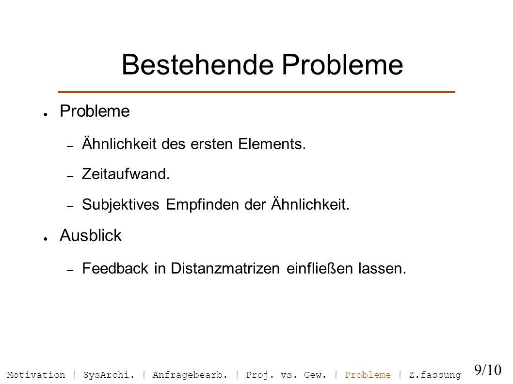 Bestehende Probleme Probleme – Ähnlichkeit des ersten Elements.