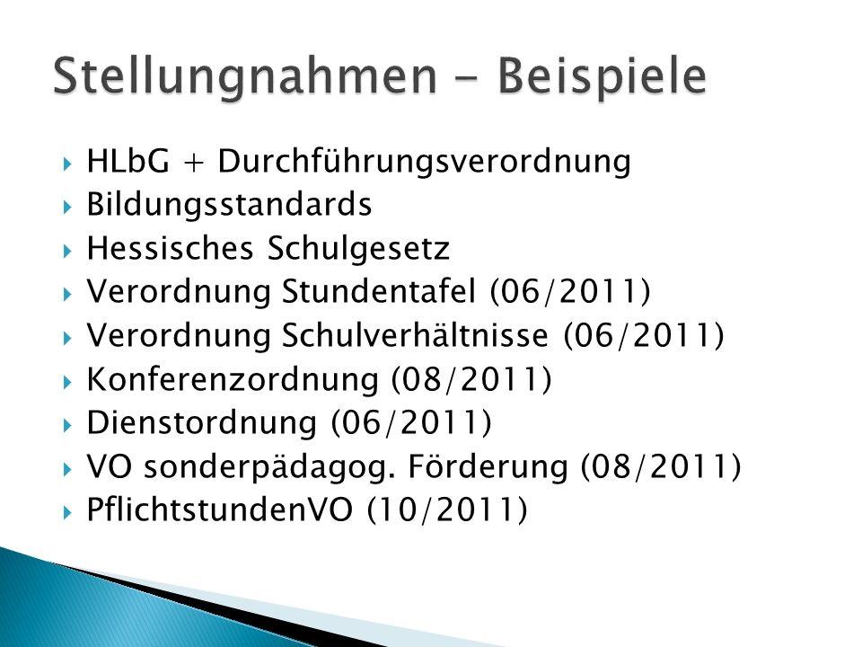 HLbG + Durchführungsverordnung Bildungsstandards Hessisches Schulgesetz Verordnung Stundentafel (06/2011) Verordnung Schulverhältnisse (06/2011) Konfe