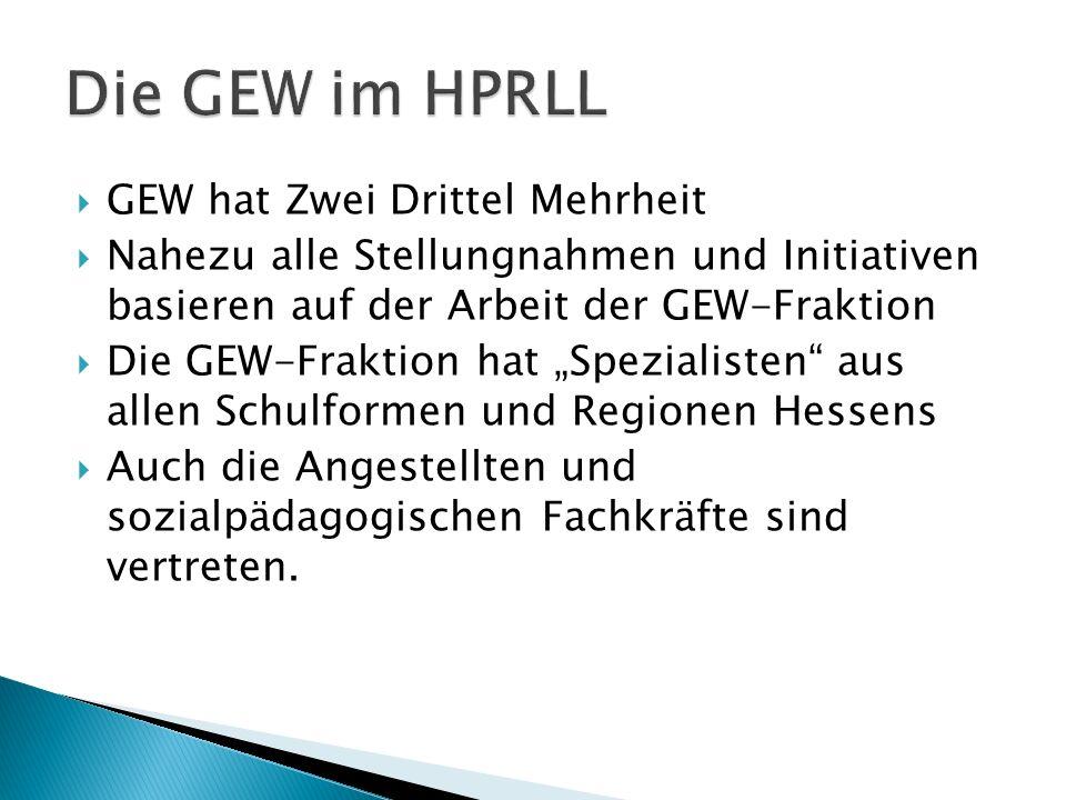 GEW hat Zwei Drittel Mehrheit Nahezu alle Stellungnahmen und Initiativen basieren auf der Arbeit der GEW-Fraktion Die GEW-Fraktion hat Spezialisten au