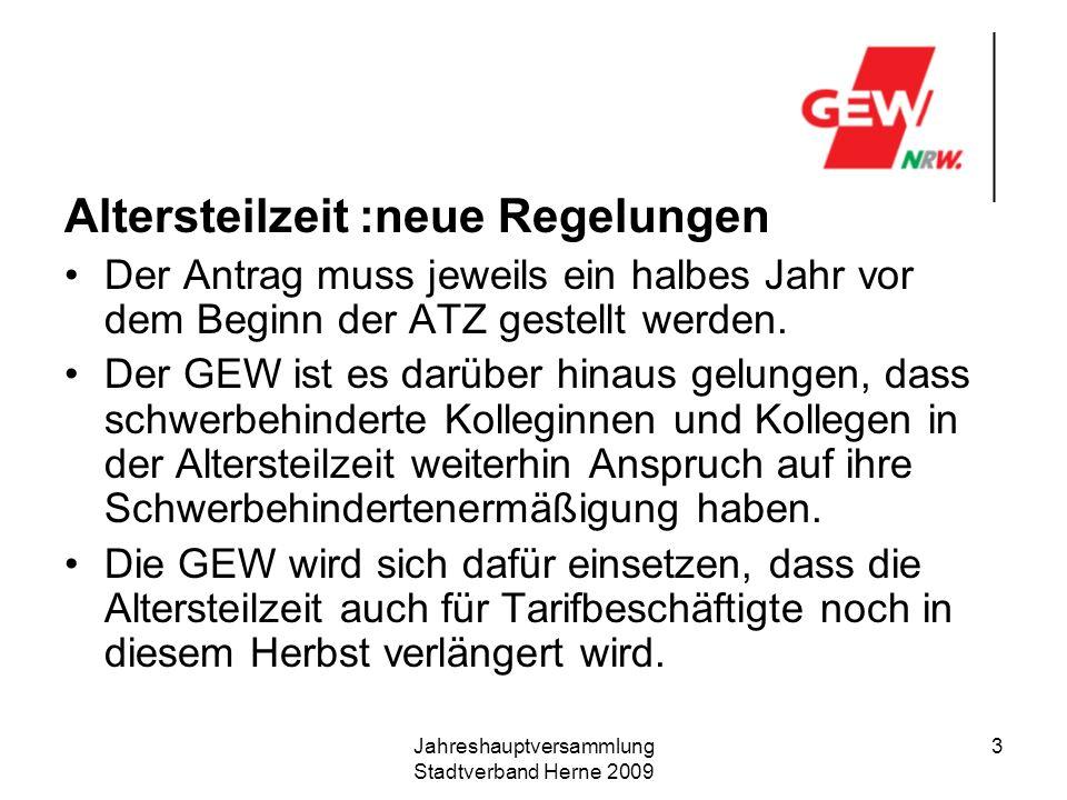 Jahreshauptversammlung Stadtverband Herne 2009 4 Teilzeit und Mehrarbeit Ab 1.3.