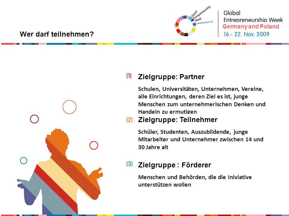 Du investierst in deine Zukunft weltweite Anerkennung Die einwöchige Verbindung von verschiedenen Aktivitäten bringt dynamischere und öffentliche Wirkung Das Image des Unternehmertums wird gestärkt Sensibilisierung junger Menschen für mehr unternehmerisches Denken und Handeln Nutzen Germany and Poland