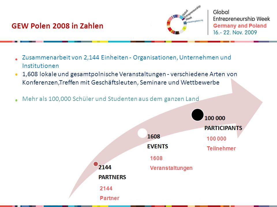 GEW Polen 2008 in Zahlen Ihre Aktivitäten wurden vom Ehrekommitee unter Vorsitz des Vizepremierministers, Waldemar Pawlak, und auch von anderen Prominenten unterstützt, z.