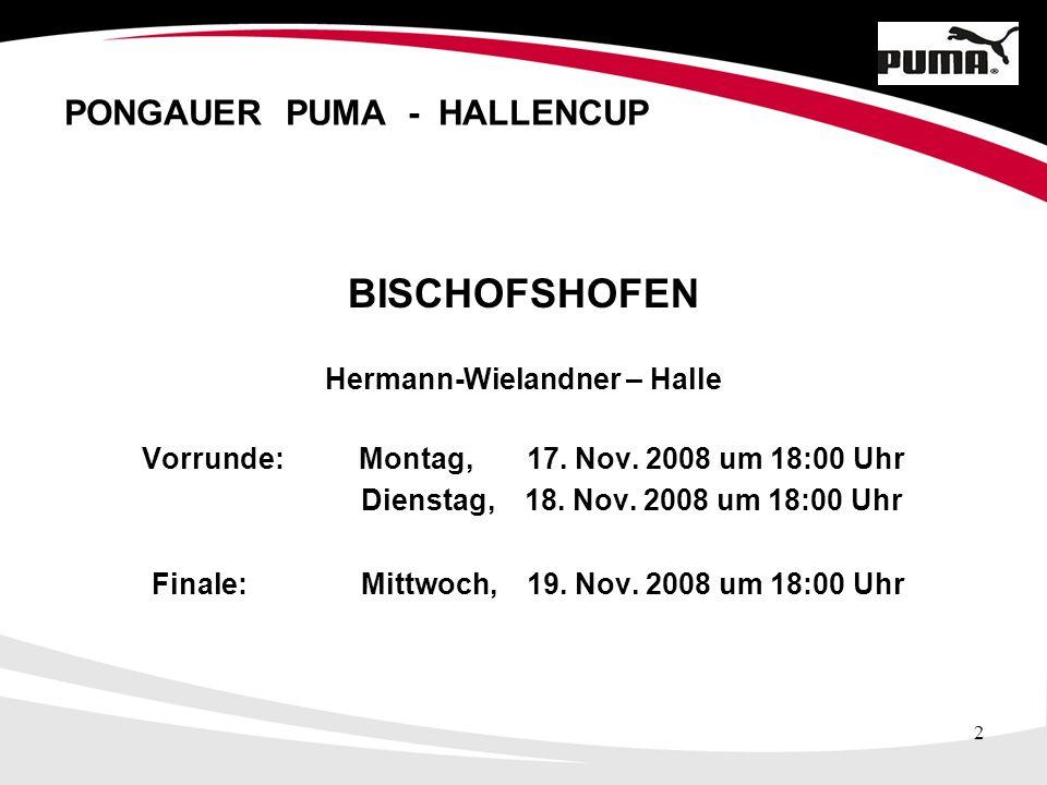2 PONGAUER PUMA - HALLENCUP BISCHOFSHOFEN Hermann-Wielandner – Halle Vorrunde: Montag, 17.