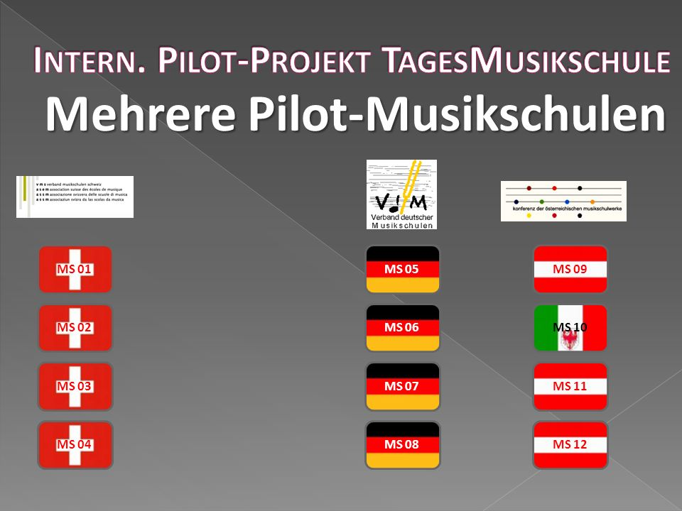 Mehrere Pilot-Musikschulen MS 01 MS 02 MS 03 MS 04 MS 05 MS 06 MS 07 MS 08 MS 09 MS 10 MS 11 MS 12