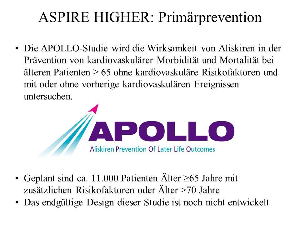 ASPIRE HIGHER: Primärprevention Die APOLLO-Studie wird die Wirksamkeit von Aliskiren in der Prävention von kardiovaskulärer Morbidität und Mortalität