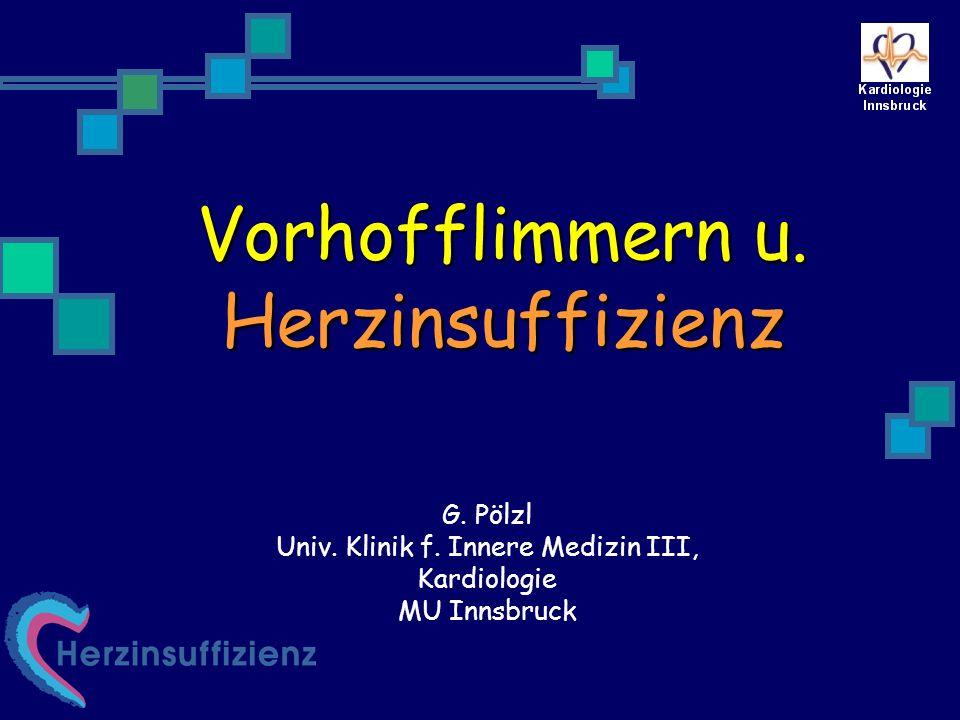 StudiePathologieSubstanzInzidenz von A- Fib TRACE Post MI EF 0.36 Trandolapril vs Placebo 2,8% vs 5.3% RR 0.45 SOLVD P/T EF 0.35Enalapril vs Placebo 4.5% vs 24% RR 0.22 Val-HeFT Symptomatic HF EF 0.40 Valsartan vs Placebo 5.3% vs 7.9% RR 0.65 LIFE Hypertension LV hypertrophy Losartan vs Atenolol 8.2/1000 vs 11.7/1000 pt.yrs RR 0.70