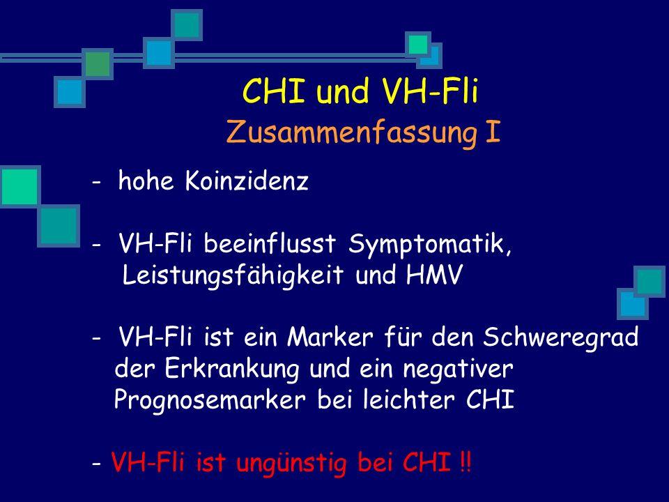 - hohe Koinzidenz - VH-Fli beeinflusst Symptomatik, Leistungsfähigkeit und HMV - VH-Fli ist ein Marker für den Schweregrad der Erkrankung und ein negativer Prognosemarker bei leichter CHI - VH-Fli ist ungünstig bei CHI !.
