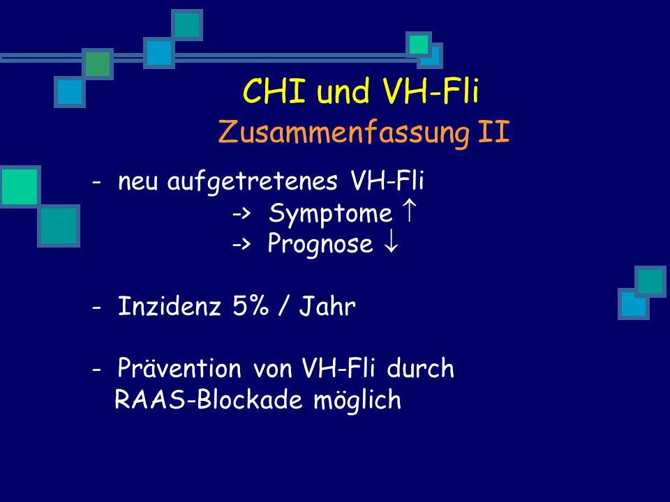 - neu aufgetretenes VH-Fli -> Symptome -> Prognose - Inzidenz 5% / Jahr - Prävention von VH-Fli durch RAAS-Blockade möglich Zusammenfassung II CHI und VH-Fli