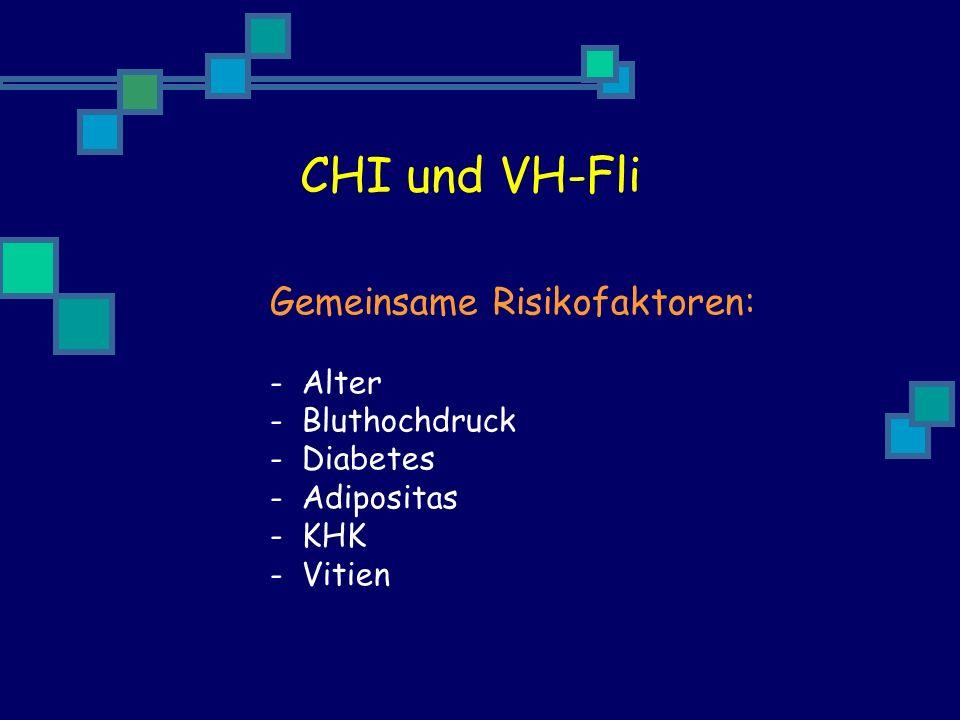 CHI und VH-Fli Gemeinsame Risikofaktoren: - Alter - Bluthochdruck - Diabetes - Adipositas - KHK - Vitien