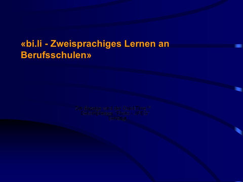 22 «Plattform zweite Sprache» www.2sprachen.ch www.2langues.ch wenn «bi.li»-Unterricht in der Schweiz als Qualitätssteigerung der Berufsbildung verstanden wird