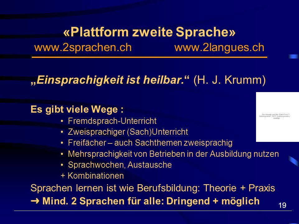 19 «Plattform zweite Sprache» www.2sprachen.ch www.2langues.ch Einsprachigkeit ist heilbar.